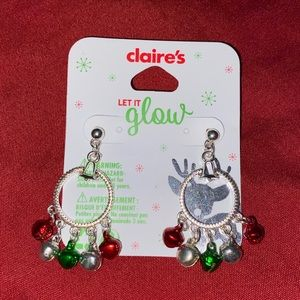 NWT Claire's Jingle Bell Hoop Christmas Earrings